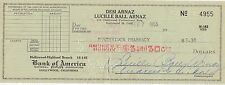 Lucille Ball Arnaz Signed Cancelled Vintage Bank Of America Check - I Love Lucy
