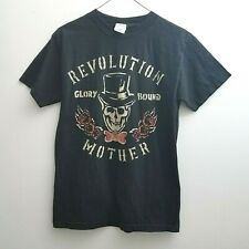Revolution Glory Bound Mother T-shirt Sz Small Black Gold Skull Roses Short Slv
