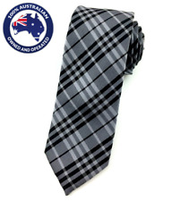 Men's Skinny Tie Grey Black Check Slim Tie 6 CM Thin Wedding Tie Plaid Necktie