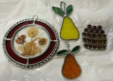 Lot of 4 Stained Glass Sun Catchers, 3 Fruits, 1 round with red & clear glass