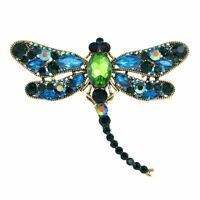 Vintage Crystal Dragonfly Brooch Pin Women Large Insect Corsage Coat Jewelry