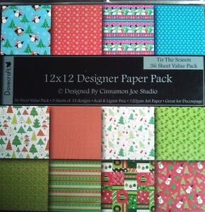 36 12x12 Dovecraft Paper Tis The Season Colour 120gsm Card Making Scrapbooking