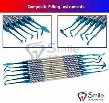 Dental Composite Filling Instruments Set of 6 Blue Titanium Coated Restorative