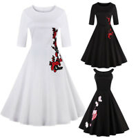 Vintage Rockabilly 50s 60s Swing Dress Retro Floral Pinup Cocktail Party Gown