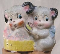 Vintage Planter Two Pups in Bubble Bath Stamford Japan 1950s CUTE!!