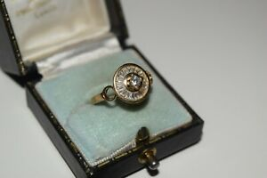9ct Yellow Gold Round Carousel Ring with baguette Cubic Zirconia