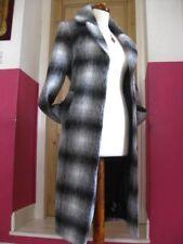 LADIES M&CO black white wool mix full length COAT size UK 10 12 military trench