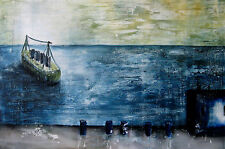 Abstract Oil Painting Encaustic Texture Large Canvas Ship Blue Martine LEtoile