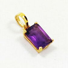 NATURAL AMETHYST GEMSTONE 14 KT YELLOW GOLD HANDMADE PENDANT JEWELRY #US113