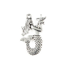 10pcs Mermaid Beads Tibetan Silver Charms Pendant DIY Jewelry Making 31*23mm