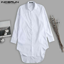 Men's Collar Long Sleeve Shirt Formal Longline Loose T Shirt Cardigan Tops Tee