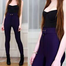 American Apparel Riding Pants Purple Ribbed Trousers Stretch Leggings Sz XS