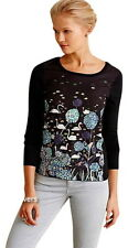 Anthropologie Once Upon a Pond Pullover XS 0 2 Black Motif Birds Trees WorkofArt