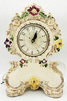 Vintage Cream 22K Gold Accent Colored Flowers Mantel Clock Lanshire Movement