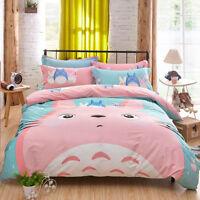 Bedding Cartoon Quilt Pink Duvet Cover Cute Set 3pcs Totoro bedSheets Twin Gifts