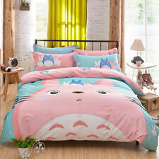 Totoro Pink Duvet Cover Cute Bedding Cartoon  Quilt Set bedSheets Twin Size 3pcs