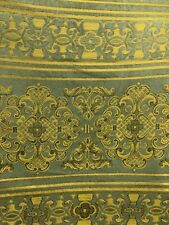 SAGE GREEN GOLD DAMASK CHENILLE UPHOLSTERY FABRIC (54 in.) Sold BTY