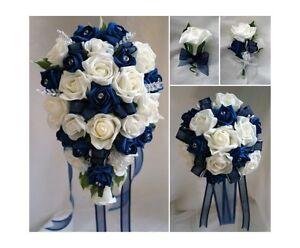 Brides,Bridesmaids Wedding Bouquet Flowers   Navy Blue/ White or Ivory