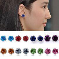 Women Rose Flower Ear Stud Earrings Crystal Rhinestone Pierced Chic Jewelry Gift