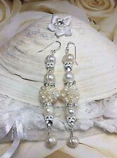 Wedding/Bridal Pearl Cluster Sterling Silver Earrings W/Swarovski Elements USA
