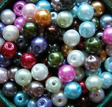 100pcs 6mm Round Glass Pearls - Mixed Colours