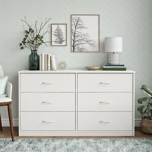 6-Drawer Dresser Organizer Bedroom Clothes Furniture Chest White Finish New