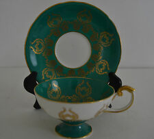 AYNSLEY FOOTED TEA CUP & SAUCER GREEN ,GOLD SIGNED  BAILEY