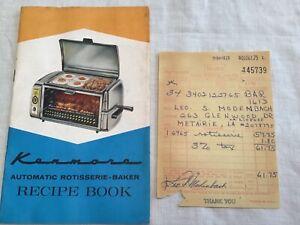 Kenmore Automatic Rotisserie Baker Recipe Book & Sales Receipt 1965 Clean