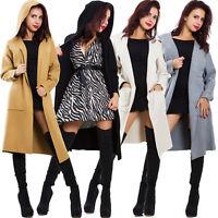 Cardigan donna lungo spolverino cappuccio maglione giacca senza chiusura SY-9207