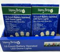 Lot of 2 Merry Brite 15 Battery Operated LED Dome Lights Warm White