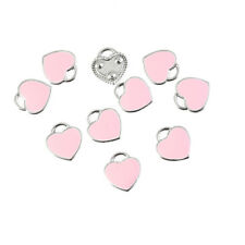 10X Pink Enamel Love Heart Charm Pendant 11*12MM DIY Necklace Bracelet Makinig