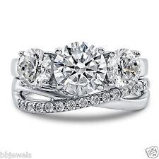4ct Ct White Diamond Bridal Set Three Stone Engagement Ring Sterling Silver