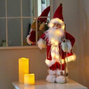 Christmas Santa Decoration Large Ornament Xmas Standing Red Figure LED 30cm