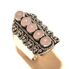 Rose Quartz Gemstone Silver Plated Ring Handmade Jewelry
