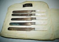 5 Landers Frary Clark Aetna Works Mother of Pearl Handle Sterling Band Knife Set