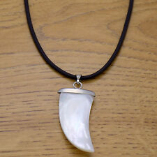 Awesome Leather & Mother of Pearl Horn Shark Tooth Pendant Adjustable Necklace