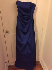 Davids Bridal Bridesmaid Dress S2 Royal Blue 8567 long gown prom satin
