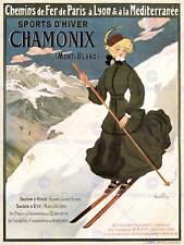 SPORT TRAVEL WINTER SNOW SKIING CHAMONIX FRANCE VINTAGE ADVERT POSTER ART 2083PY