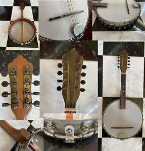 Early 1900s Banjolin Antique Vintage Banjo Mandolin Guitar 8 String Instrument