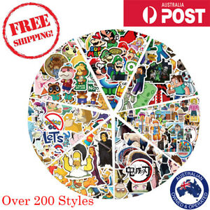 250 Different Anime Character Stickers Waterproof Vinyl Decal Skate Laptop Phone