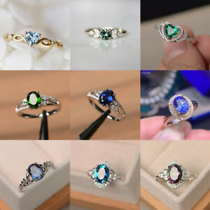Gorgeous 925 Silver Ruby Oval Cut Sapphire Jewelry Women Wedding Rings Size 6-10