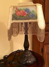 Ornate Rose Lamp Table Metal Stand Fabric Shade Fringe Bedroom Dresser Stand