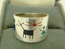 ZUNI STERLING TURQUOISE STICK FIGURE STORYTELLER RING ONYX CORAL INLAID SZ 6.75