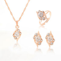 3 Pcs/Set Jewelry Set Fashion Gold Color Chain Crystal Necklace Ring Earring MW