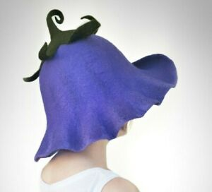 Purple witch hat Halloween shape flower for adult felted from natural wool