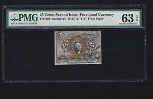 US 25c Fractional Currency Note Fiber Paper FR 1290 18-63-T-2 PMG 63 EPQ (02)