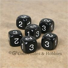 NEW Set of 6 D3 Six Sided 1 to 3 Twice Black Game Dice D&D RPG 16mm Kolpow
