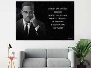 Malcolm X Wall Art, 3 Panels Freedom Quote Canvas, Malcom X Poster, Home Decor