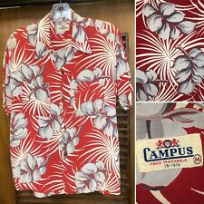 "New listing Vintage 1940'S ""Campus� Atomic Floral Rayon Hawaiian Shirt -Original- M"