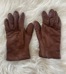 """Fownes Genuine Leather Brown Gloves Lined Cashmere """"Sz 7.5"""